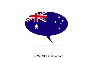 Australia Flag - Spinning Australia Flag Speech Bubble
