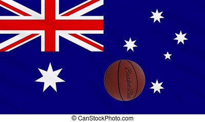 Australia flag wavers and basketball rotates, loop.
