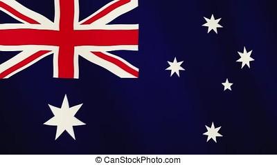 Australia flag waving animation. Full Screen. Symbol of the...