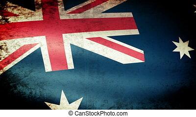 Australia Flag Waving, grunge