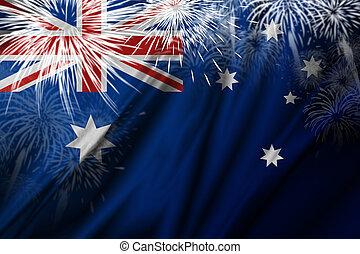 Australia flag with fireworks background illustration
