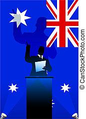 Australia flag with political speaker behind a podium