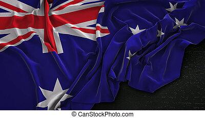 Australia Flag Wrinkled On Dark Background 3D Render