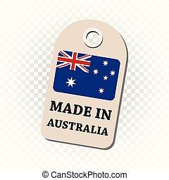 australia, fondo., vector, flag., cuelgue, aislado, etiqueta, hecho, ilustración