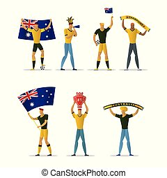 Australia football fans. Cheerful soccer supporters crowd.