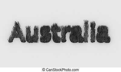 Australia - gray word 3d on fire, Pray For Australia , typography design with forest fires and silhouette of wild animals kangaroo, koala. illustration render. continent disaster, danger ecology.