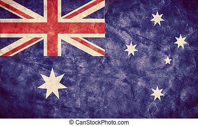 australia, grunge, flag., pozycja, z, mój, rocznik wina, retro, bandery, zbiór