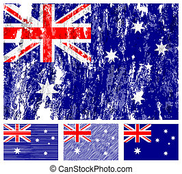 Australia grunge flag set on a white background. Vector...