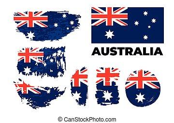 Australia grunge flag set on a white background. Vector illustration.