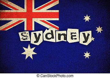 Australia grunge flag with text