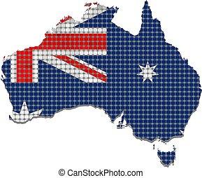 Australia grunge map with flag inside