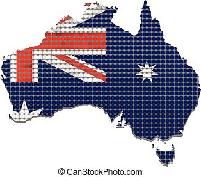 Australia grunge map with flag inside