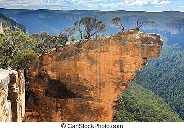 australia, hängender , blaue berge, gestein