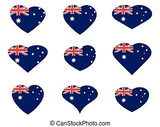 Australia. Hearts with Australian flag. Vector illustration.