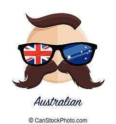 Australia hipster glasses moustache