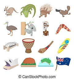 Australia icons cartoon