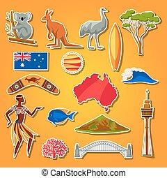 Australia icons set. Australian traditional sticker symbols...