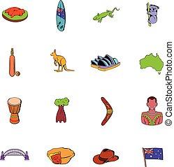 Australia icons set cartoon