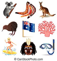 Australia icons vector set