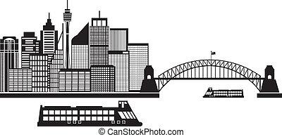 australia, ilustración, contorno, negro, sydney, blanco