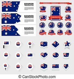 australia independence day, infographic, and label Set.