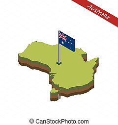 Australia Isometric map and flag. Vector Illustration.
