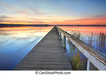 australia, jezioro, długi, molo, zachód słońca, tuggerah, nsw