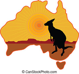 Australia Kangaroo - A stylized map of Australia with a ...