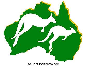 Australia. Kangaroo - Map of Australia with the contour of...