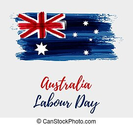 Australia Labour Day holiday. Abstract watercolor grunge...