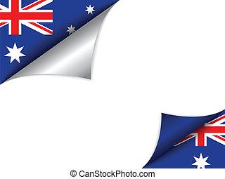 australia, land, fahne, drehen seite