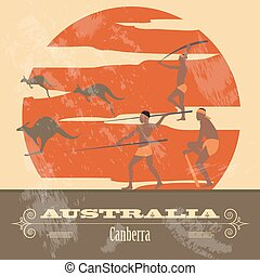 australia, landmarks., retro, disegnato