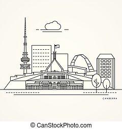 australia., linearny, ilustracja, canberra