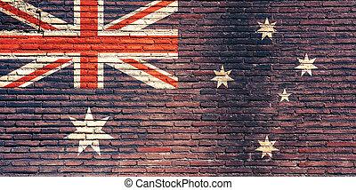 australia lobogó, festett, képben látható, egy, tégla, wall., 3, ábra