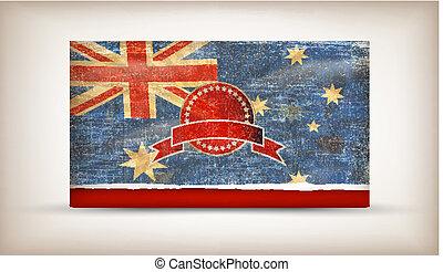 australia lobogó, grunge, képben látható, öreg, szüret, dolgozat