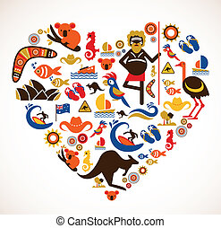 Australia love - heart with set of vector icons - Australia...