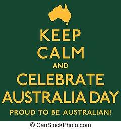 australia, manifesto, format., vettore, calma, day', 'keep, celebrare