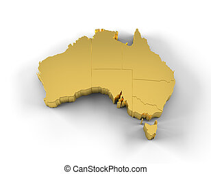 Australia map 3D gold with states - High resolution ...