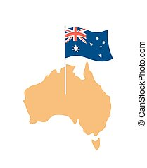 Australia map and flag. Australian resource and land area. State patriotic sign