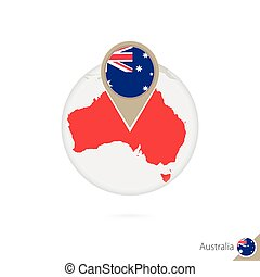 Australia map and flag in circle. Map of Australia, Australia flag pin. Map of Australia in the style of the globe.