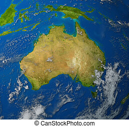Australia map - Australia realistic map of the continent of...