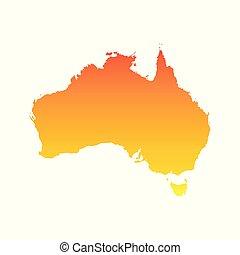 Australia map. Colorful orange vector illustration