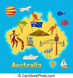 Australia map design. Australian traditional symbols and...