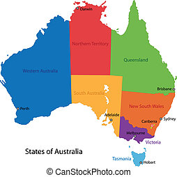 Australia map - Colorful Australia map with regions and main...