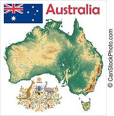Australia map flag coat