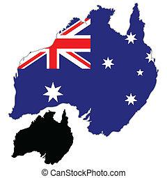 Australia map flag