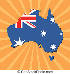 Australia map flag on sunburst