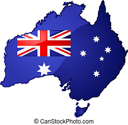 Glossy illustration of the map of Australia with the Australian flag inside it