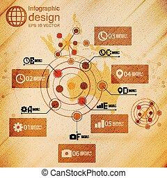 Australia map, infographic design illustration, wooden background vector