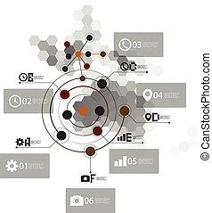 Australia map, infographic template for business design, hexagonal design vector illustration